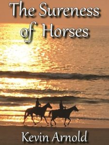 A couple riding horses on the beach in sunset